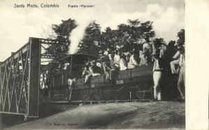 colombia, SANTA MARTA, Puente Papares, Steam Train (1910s)