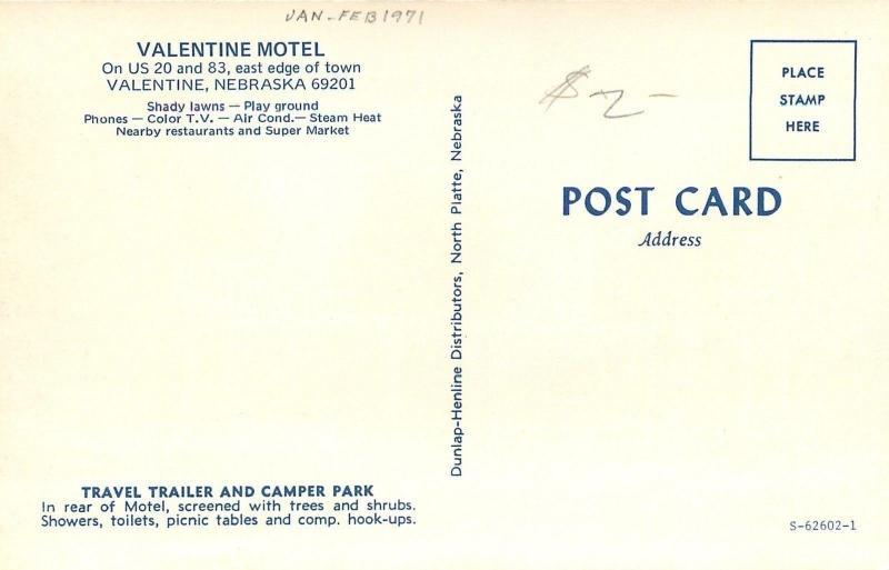 valentine nebraskavalentine moteltravel trailer camper parkingheart1960s - Motels In Valentine Nebraska
