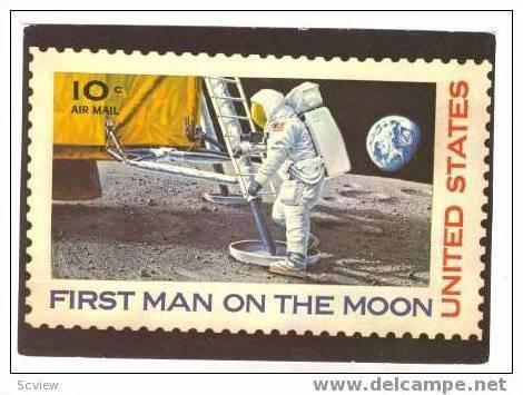 First Man On The Moon United States10 Cent Air Mail Stamp Postcard