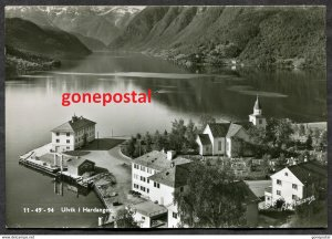 dc605 - Norway ULVIK i Hardanger Air View 1956 Real Photo Postcard sent to Canad