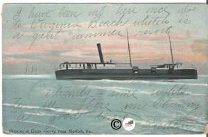 Old Postcard, Wrecks at Cape Henry near Norfolk Virginia - Shipwreck, Vintage
