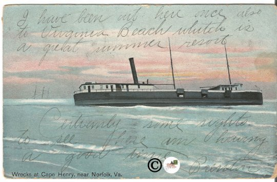 Old Postcard, Wrecks at Cape Henry near Norfolk Virginia - Shipwreck, Vintage