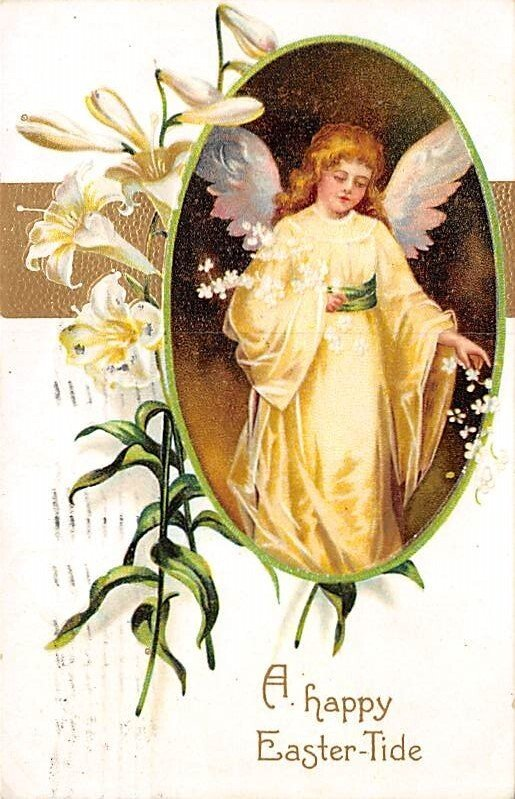 Happy Easter Artist Ellen Clapsaddle Angel Angles 1909 postal marking on front
