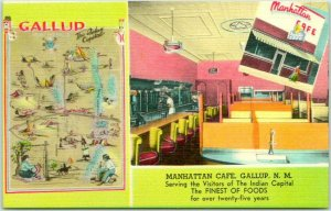 1950s GALLUP, New Mexico Postcard MANHATTAN CAFÉ Route 66 Roadside Linen Unused