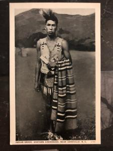 Mint NC USA Postcard Native American Indian Eastern Cherokee Brave Asheville