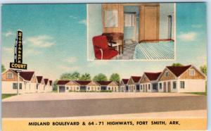 FORT SMITH, Arkansas AR  Midland Avenue BLACKBURN COURT c1940s Linen   Postcard
