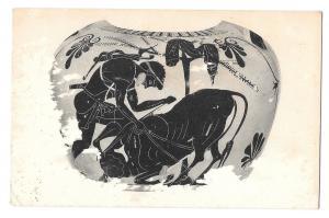 Hercules Overpowering Cretan Bull Greek Vase Metro Museum of Art Postcard
