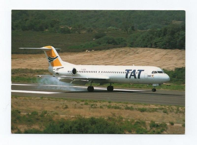 - POSTCARD AIRPLANE TAT FOKKER F100 FRANCE AIRCRAFT AIRPLANES AIRCRAFTS AVIONS