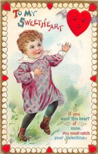 A52/ Valentine's Day Love Holiday Postcard 1913 Mannington W Va Sweetheart 13