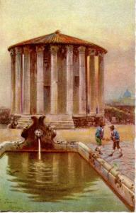 Italy - Rome, Temple of Vesta with Fountain