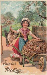 EASTER Greetings, 1900-10s; Girl gathering chickens in wheelbarrow, PFB 8442