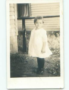 Pre-1930 rppc LITTLE GIRL WITH VERY SHORT HAIR o2088
