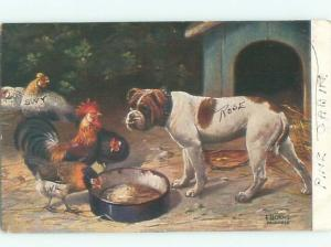 Pre-Linen DOG AND ROOSTER BY THE DOGHOUSE AC5314