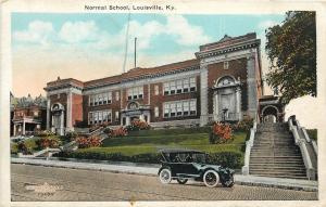 Louisville Kentucky~Normal School~Vintage Car Parked at Foot of Steep Steps~1920
