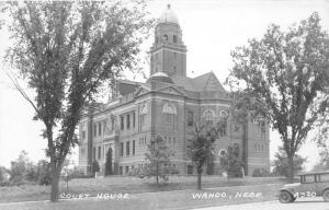 Wahoo Nebraska~Court House~Cannon Display~Vintage Car~1940s RPPC