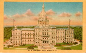 Michigan Lansing View Of State Capitol 1949 Dexter Press