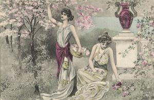 K.V.i.B. 12 Series 475 Artist Signed, Ancient Greek Women Garden (1899) Postcard