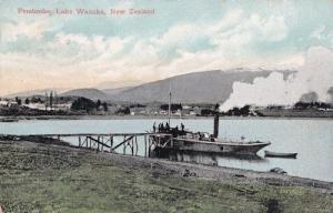 Ship Crew at Pembroke Lake Wanaka Otago New Zealand Old Postcard