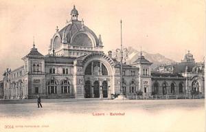 Switzerland Old Vintage Antique Post Card Luzern Bahnhef Unused
