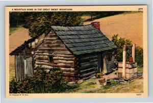 Great Smoky Mountains National Park Pioneer Cabin Linen North Carolina Postcard