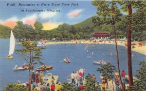 Martinsville-Fairy Stone State Park Virginia~Boating & Swimming @ Beach~1940s Pc
