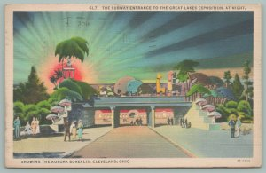 Cleveland Ohio~Great Lakes Exposition~Aurora Borealis~Subway Entrance~Linen PC