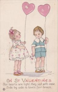 Valentine's Day Young Boy and Girl Holding Heart Sheped Balloons