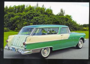 1955 PONTIAC SAFARI 2 DOOR STATION WAGON CAR DEALER ADVERTISING POSTCARD GREEN