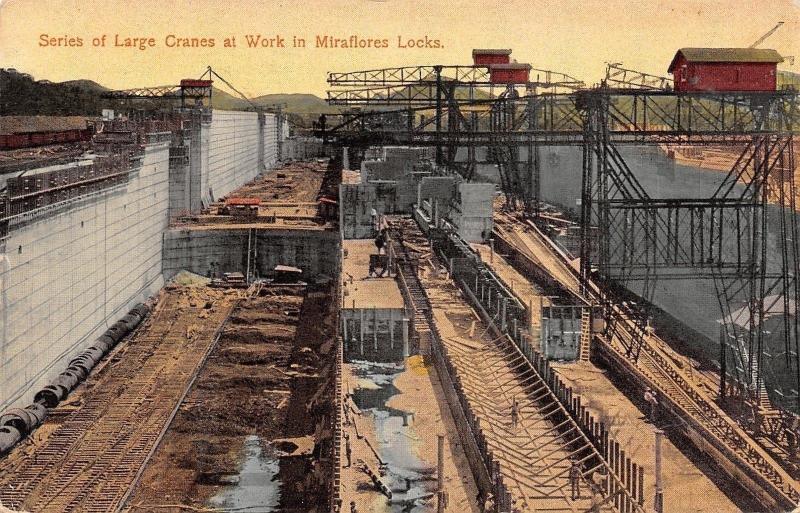 Panama City~Miraflores Locks~Large Cranes~Panama Canal~1914 Postcard