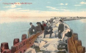 Fishing from Pier in Lake Michigan c1910s Vintage Postcard