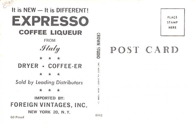 Wine and Liquor Advertising Old Vintage Antique Post Card Expresso Coffee Liq...