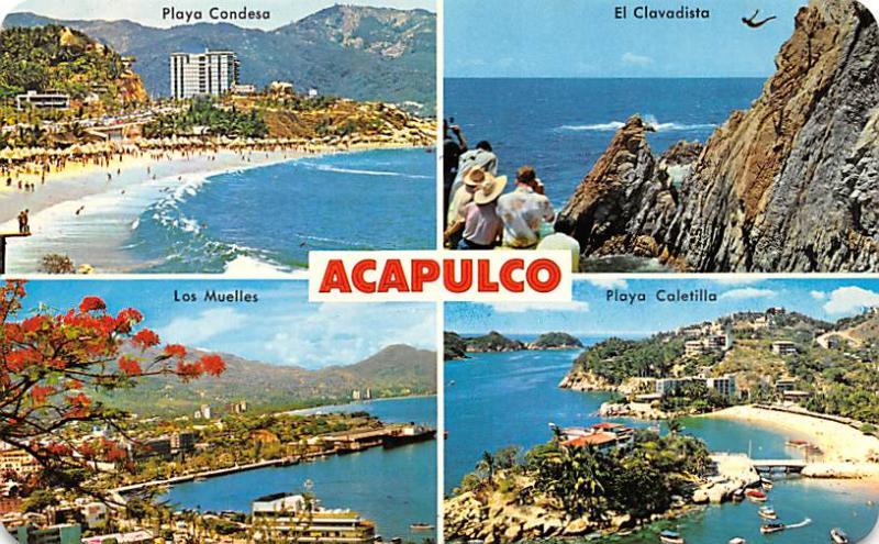 Acapulco Mexico Postcard Tarjeta Postal Playa Condesa, El Clavadista Acapulco