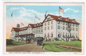 Hotel Champlain Bluff Point Plattsburg NY 1927 postcard
