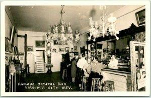 1940s VIRGINIA CITY, Nevada RPPC Photo Postcard 'Famous CRYSTAL BAR Interior