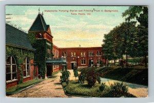 Terre Haute IN-Indiana, Waterworks Pumping Station, Vintage c1909 Postcard