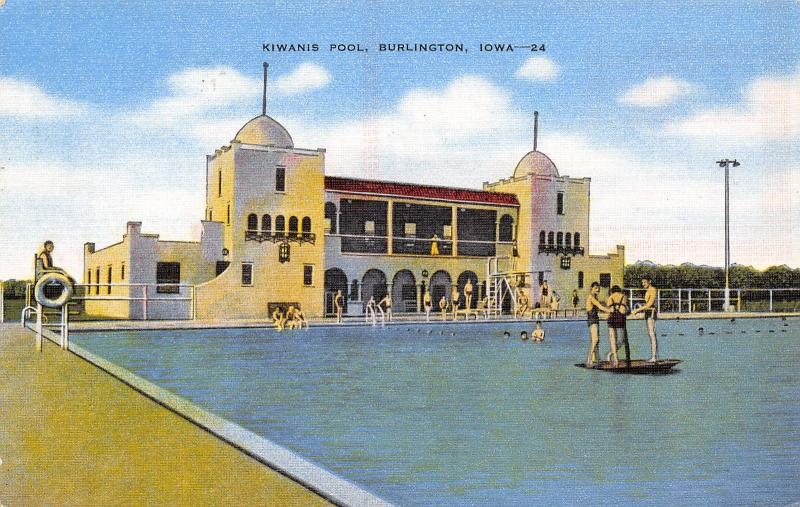Burlington IA 3 Stand on Platform @ Kiwanis Swimming Pool~Lifeguard 1940s Linen