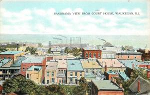 Waukegan Illinois~Panorama View From Court House~Back of Flats~Factory~1910 PC