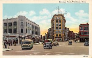 Waterbury Connecticut~Exchange Place~Lake Wood Bus~Lots of Stores~1953 Linen