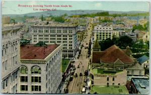 Los Angeles CA Postcard Broadway Looking North from 6th Street 1915 Cancel