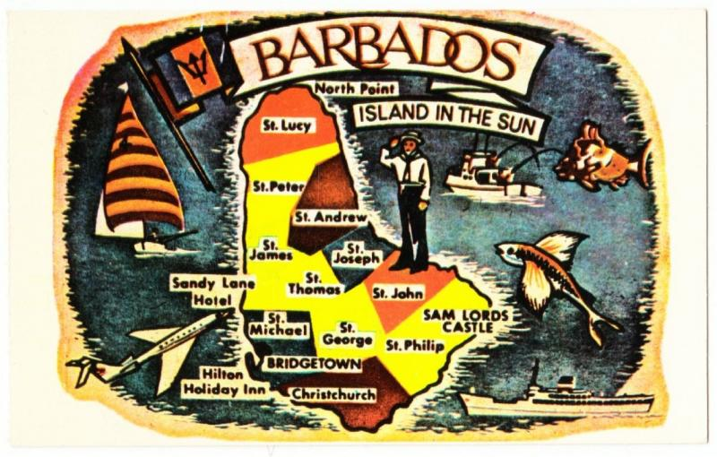 Barbados Map 1960s-1970s Postcard by C.L. Pitt
