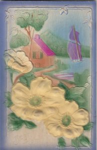 Best Wishes, Embossed Silk Yellow Flower , 00-10s