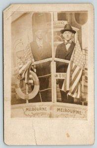 RPPC American Gentlemen Set Sail For Melbourne AU-VIC~Studio Prop~RPPC c1913