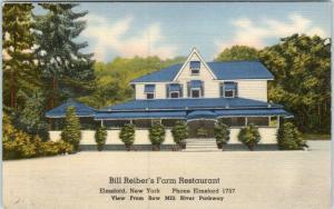 ELMSFORD, New York  NY   Roadside BILL REIBER'S FARM RESTAURANT  1940s Postcard*
