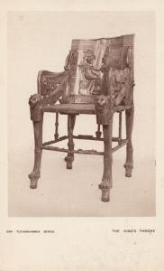 Tutankhamen Kings Throne Antique Egyptian Postcard