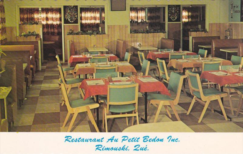 Interior , Restaurant Au petit Bedon Inc. , RIMOUSKI , Quebec , Canada , 50-60s