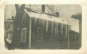 C-1910 Winter Home Hugh Icicles RPPC Photo Postcard 21-7090