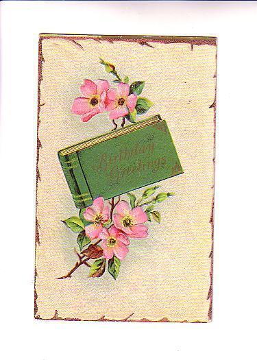 Embossed, Birthday Book, Pink Blossoms, BS Series 12, Hillsboro North Dakota ...