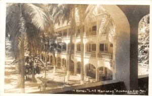 RPPC Hotel Las Hamacas Acapulco, Mexico Navarro Foto c1940s Vintage Postcard