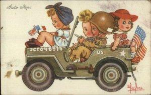 Cute Kids American Flag WWII Army Jeep LECLERC Postcard