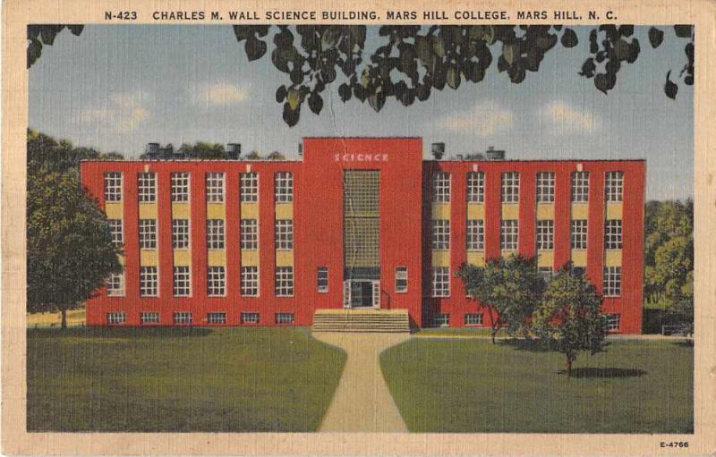 Mars Hill North Carolina Mars Hill College Science Building Postcard J51973